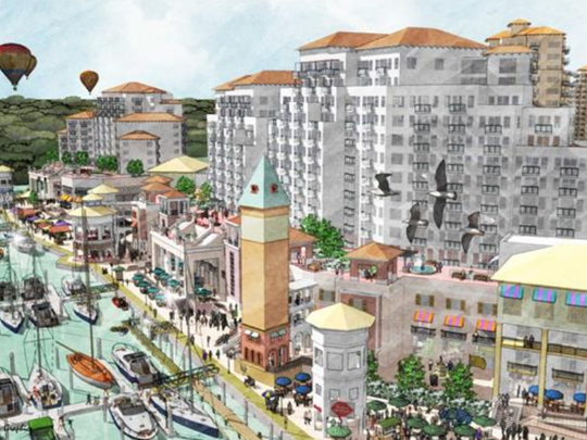 Approved in 2009, Ebb Tide would bring a 450-room hotel, convention center, marina and esplanade of retail,  is restaurants and offices to both sides of Main Street on San Carlos Island. Buyers are being sought to revive the project.