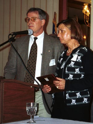 "Ned Bonfoey and former wife Terry accept the Greater Augusta County Regional Chamber of Commerce 2000 Citizen of the Year award on behalf of the late R. R. ""Jake"" Smith in 2001."