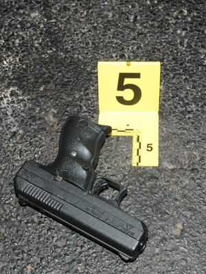 A gun recovered Dec. 23, 2014, from an officer-involved shooting in Berkeley, Mo.