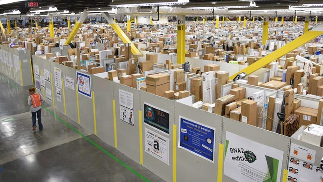 The Amazon fulfillment center has more than 1 million square feet at its Wilson County warehouse. The facility specializes in larger items such as kayaks, televisions, guitars, skateboards and even pink motor scooters. Perfumes and certain cosmetic items also are carried at the Wilson County center. More than 1 million items are stored daily.