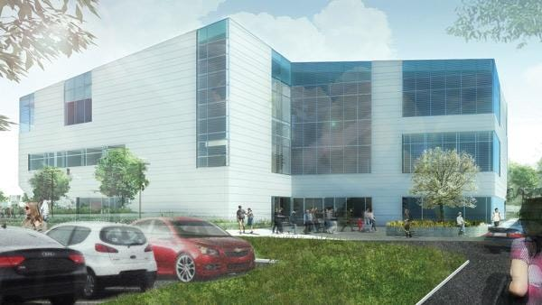 A rendering shows the O'Reilly Clinical Health Sciences Center, which is still under construction. The clinic located inside is expected to open by mid-October.