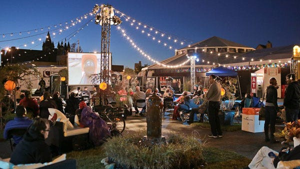 The Spiegeltent is a hub of Fringe info and activity