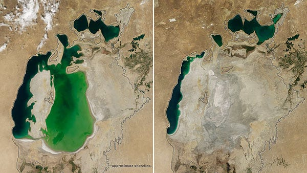 On the left, the Aral Sea is seen in 2000. On the right, the sea is seen in 2014. The images were taken by the Moderate Resolution Imaging Spectroradiometer (MODIS) on NASA's Terra satellite.