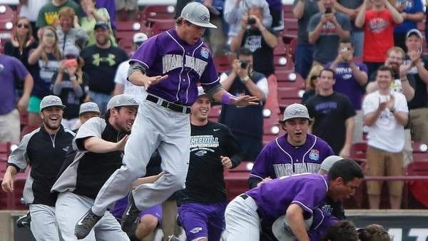 UW-Whitewater players celebrate their 7-0 victory over Emory to win the NCAA Division III baseball championship at Fox Cities Stadium in Grand Chute on Tuesday afternoon.