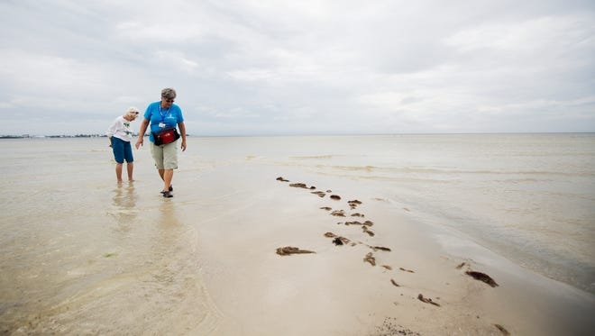 Trudy Sampson, a volunteer guide for Lee County Parks and Recreation and visitor, Pearl Hallett search for sea life at Bunche Beach.