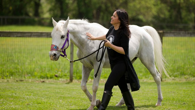 Tracey Stewart, leads Lily away at the end of a news conference May 25. The horse adopted by Jon Stewart and his wife after it was found seemingly abandoned at an auction stable in Pennsylvania has died at their New Jersey farm.