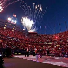 Fireworks go off over Arthur Ashe Stadium following the national anthem during the opening ceremony for the U.S. Open tennis tournament Monday, Aug. 25, 2014, in New York.