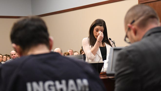 Jordyn Wieber gives her victim impact statement Friday, Jan. 19, 2018, in Circuit Judge Rosemarie Aquilina's courtroom during the fourth day of the sentencing hearing for former sports medicine doctor Larry Nassar. He pleaded guilty to seven counts of sexual assault in Ingham County, and three in Eaton County. This is Wieber's first public statement about Nassar.