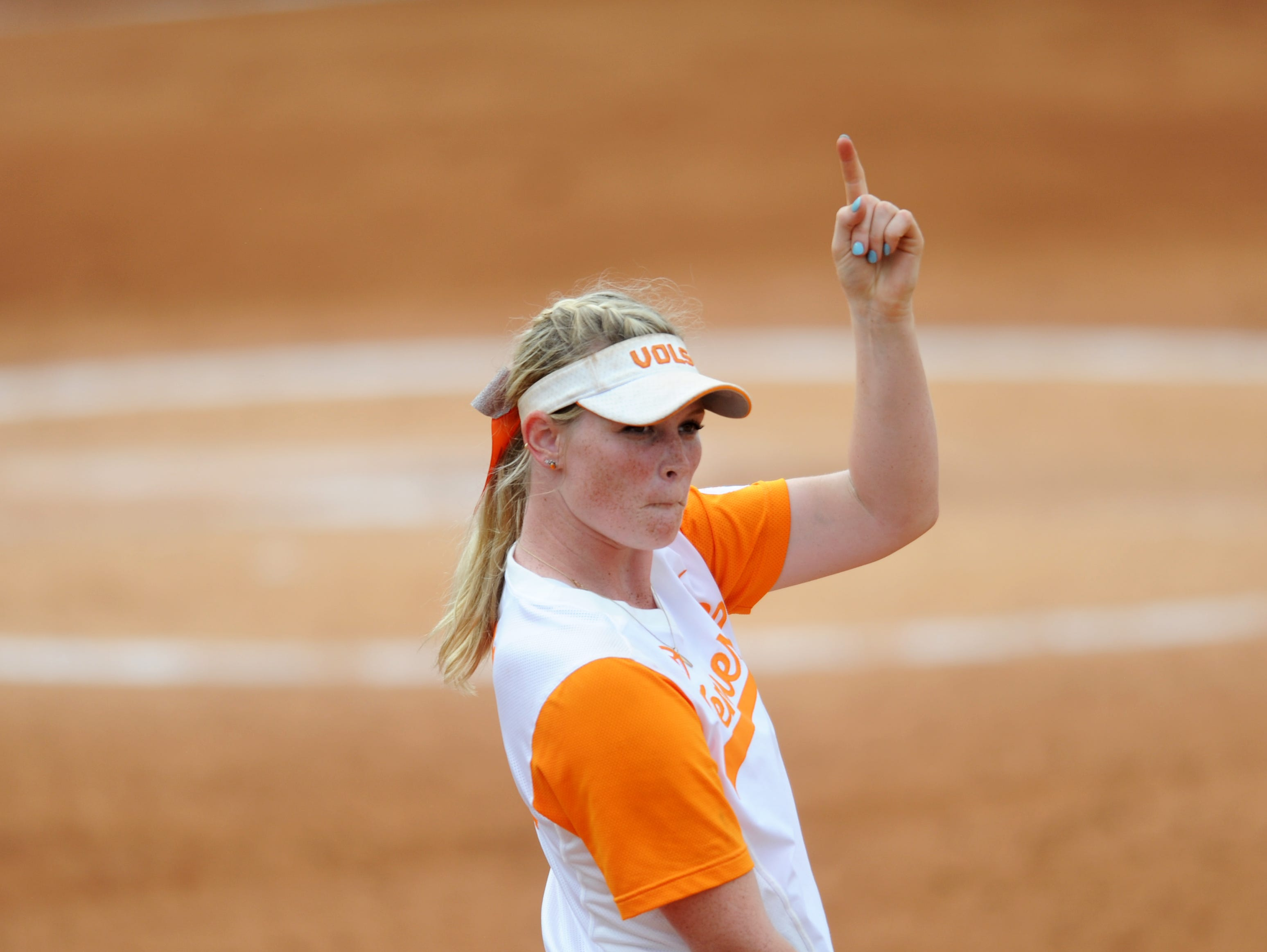Tennessee's Haley Bearden (11) celebrates an out during a final NCAA Regional game between Tennessee and Longwood at Sherri Parker Lee Stadium on Sunday, May 21, 2017. Tennessee defeated Longwood 3-0.