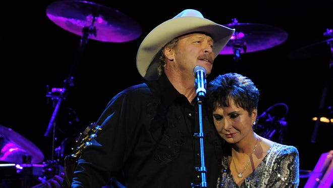 "Alan Jackson, left, and Nancy Jones, George Jones' widow, following Jackson's performance of ""He Stopped Loving Her Today"" at ""Playin' Possum: The Final No Show,"" a tribute concert to the late singer, held Nov. 22 in Nashville."