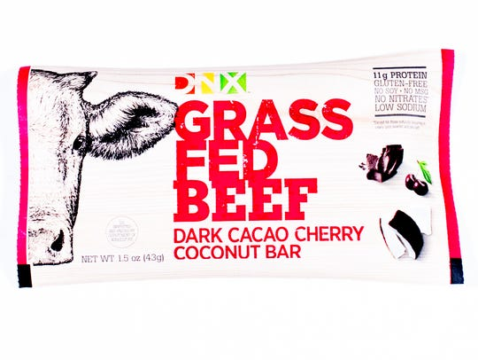 A dark cacao cherry coconut flavored DNX beef jerky.