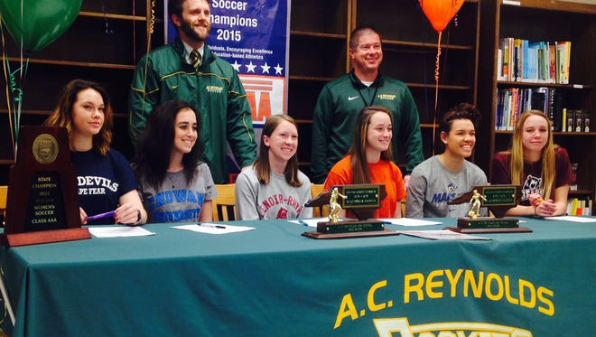 Six seniors from the Reynolds soccer team signed to play for college teams on Monday.