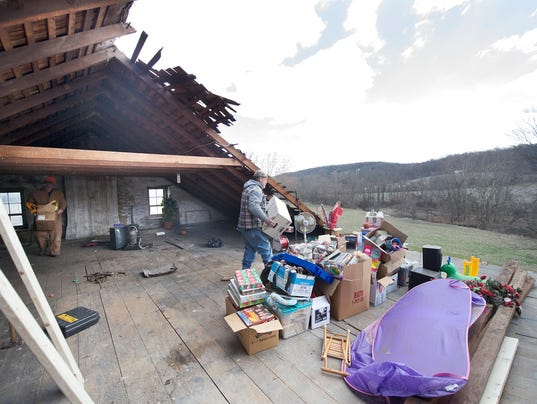 Storm Damage In York County Roof Ripped Garage Crumpled