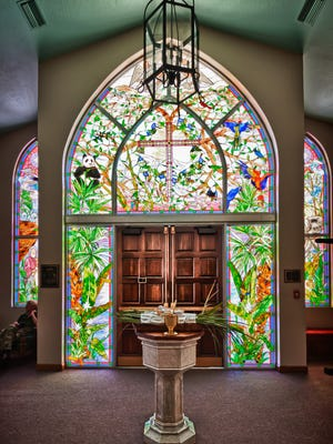 It took three years to complete the stained glass display at Holy Trinity Episcopal in Melbourne. It comprises  20 window sections total, six of which are door panels) for the narthex.