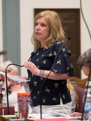 Sen. Nicole Poore, D-Red Lion, speaks in the Senate chamber during a session at Legislative Hall in Dover.
