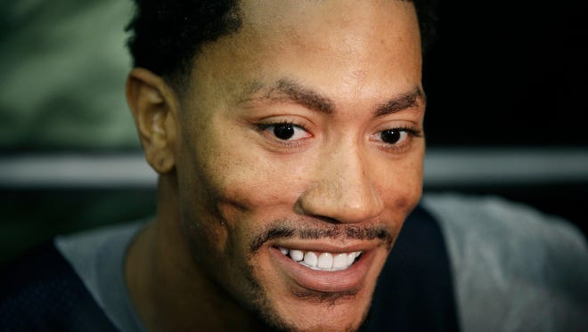 The Chicago Bulls' Derrick Rose speaks with the media after a USA Basketball minicamp practice Monday, July 28, 2014, in Las Vegas.