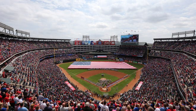 A general view of Globe Life Park in Arlington as the national anthem is performed prior to the game with the Texas Rangers on March 31, 2014.