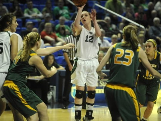 Karli McFatridge shown taking a jumper while at York Catholic.