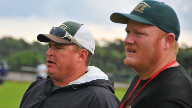 Derek Smith (right) and Mays worked together at both Viera and Bayside, where Smith was head coach and Mays was offensive coordinator.