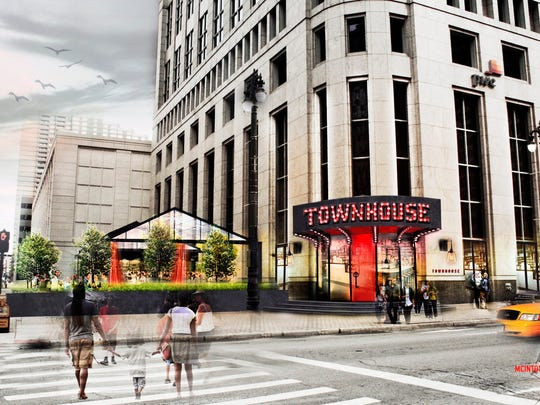 """Townhouse restaurant will feature an all-glass """"house"""" -- a four-season outdoor dining room adjoining the One Detroit Center building."""