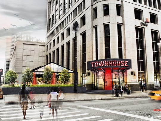 Rendering of Townhouse Detroit, opening in late July at One Detroit Center at Woodward and Congress in downtown Detroit.