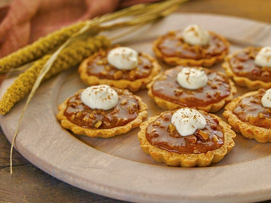 Caramel Pecan Tarts with Parmesan Walnut Crust