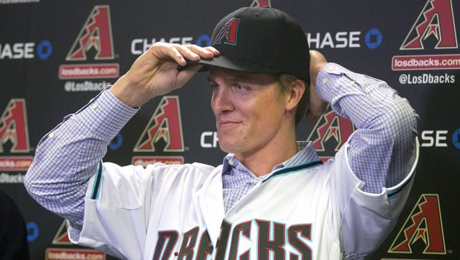 Arizona Diamondbacks introduce free-agent acquisition right hand pitcher Zack Greinke at Chase Field in Phoenix on December 11, 2015.
