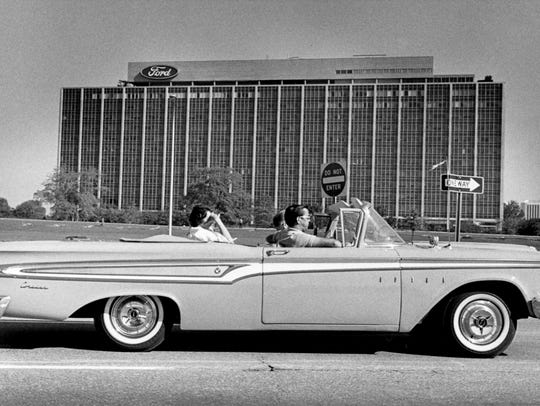 An Edsel by Ford Motor Company cruises by Ford World