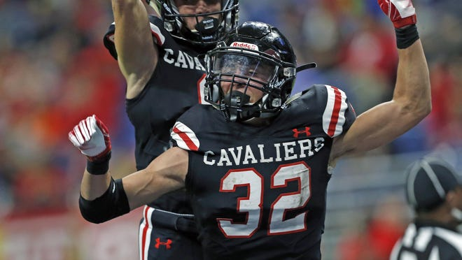 Lake Travis running back Weston Stephens, celebrating a touchdown against Converse Judson in the playoffs last December, rushed for 1,279 yards and scored 21 touchdowns in 2019.