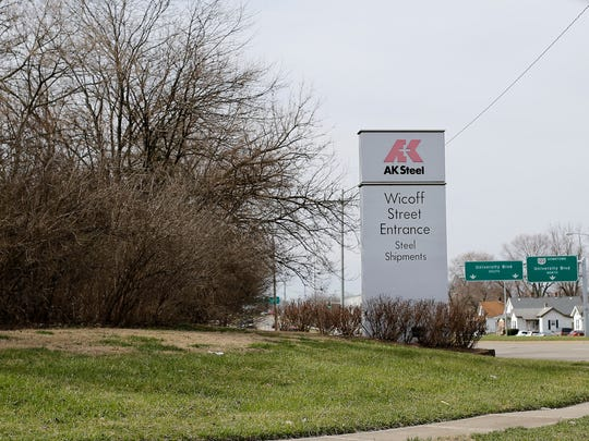 A shipments entrance to AK Steel on Wicoff Street in Middletown, Ohio, on Monday, March 5, 2018.