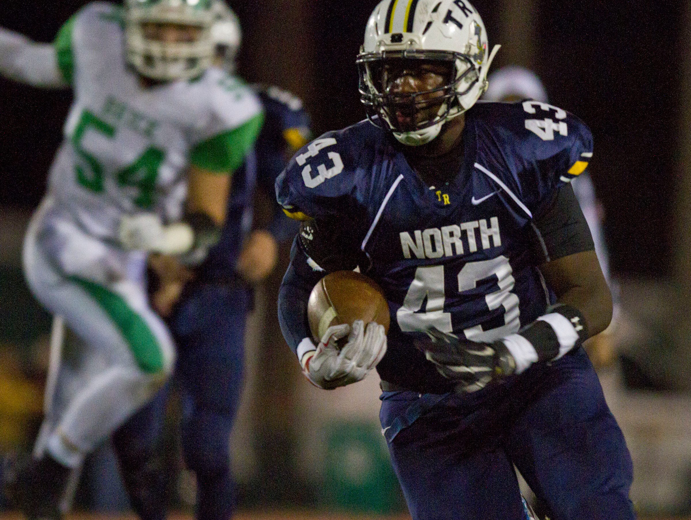 Toms River North's Daryn Blackwell scores a touchdown. Toms River North vs Brick football. Brick, NJ Friday, October 30, 2015 @dhoodhood