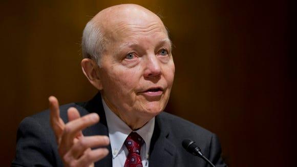 Internal Revenue Service Commissioner John Koskinen testifies on Capitol Hill in Washington in February.