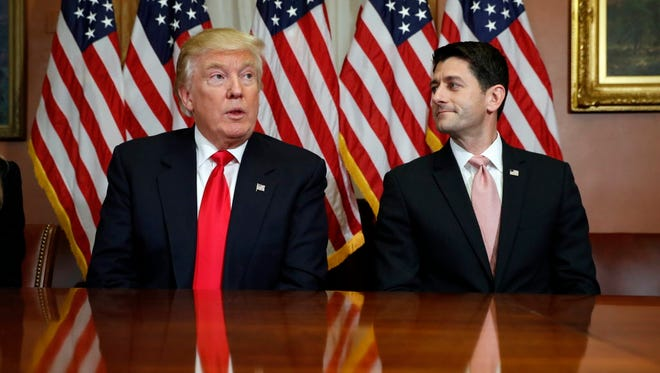 President-elect Donald Trump meets with U.S. House Speaker Paul Ryan (R-Wisc.).
