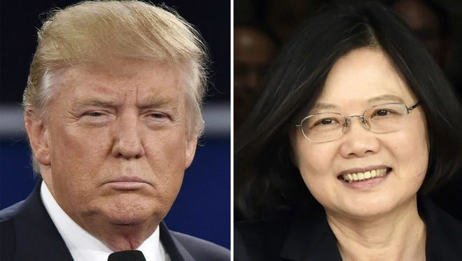 A combined photo of Donald Trump and Taiwan's leader Tsai Ing Wen