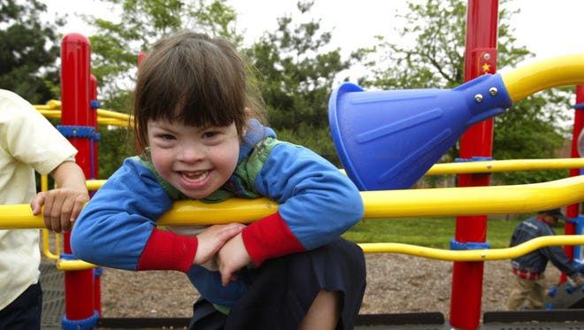 A child plays at the Baer School, a special education facility in Baltimore for physically and developmentally challenged children.