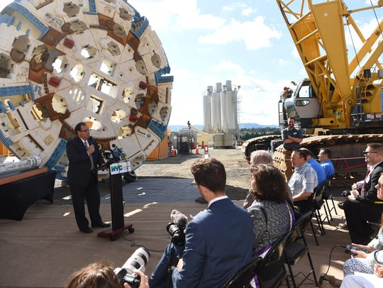 Vincent Sapienza, DEP acting commissioner, speaks during the press conference marking the start of the tunneling for the Delaware Aqueduct Bypass Tunnel in Newburgh in September 2017.