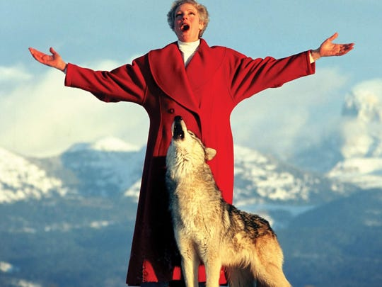 Family said Kristine Ciesinski was always fond of the outdoors. Here is singing in the Grand Teton mountains with a wolf.