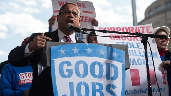 Rep. Keith Ellison of Minnesota speaks at a rally of
