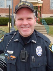 Officer Monty Green of the Two Rivers Police Department wears a body camera.