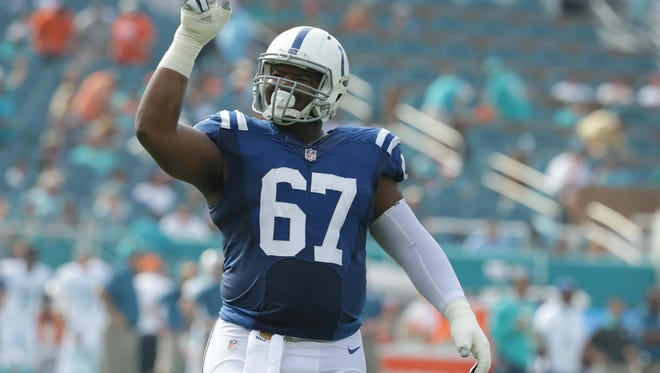 """Colts defensive tackle T.Y. McGill tallied a sack and a safety in the team's win over Miami last season. """"Picked up right where he left off (this year),"""" says coach Chuck Pagano."""