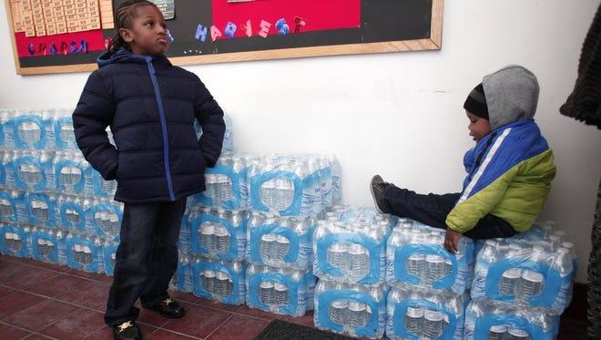 Children in Flint, Mich., on Jan. 17, 2016.