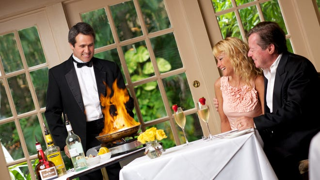 """Desserts presented table side add a """"wow factor"""" to dinner at The Veranda."""