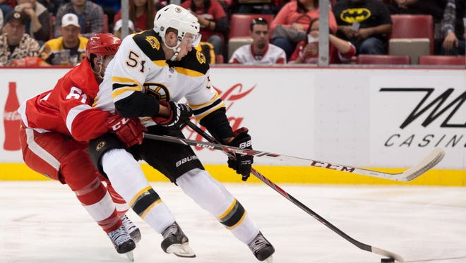 Boston Bruins center Ryan Spooner (51) re-signed with the team on a one-year deal.