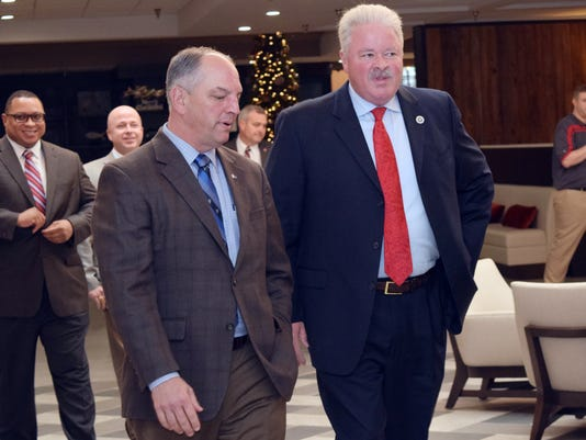 La. Gov. John Bel Edwards (left) and state senator for District 29 Jay Luneau attend the Central Louisiana Chamber of Commerce luncheon where Edwards was the featured speaker.
