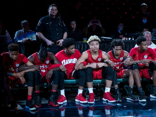 The Bosse Bulldogs wait to be announced at the start of the IHSAA Class 3A State Championship match against the Culver Academies Eagles at Bankers Life Fieldhouse in Indianapolis, Saturday, March 24. The Bulldogs were defeated by the Culver Academies Eagles, 64-49.