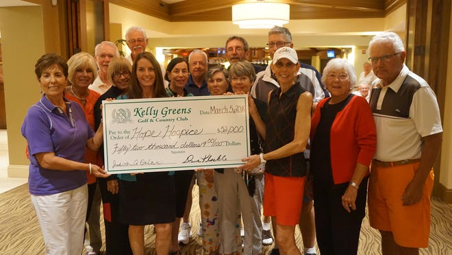 Members of the Kelly Greens Golf & Country Club raised more than $52,000 at the 15th annual Golf and Tennis Classic to benefit Hope Hospice.