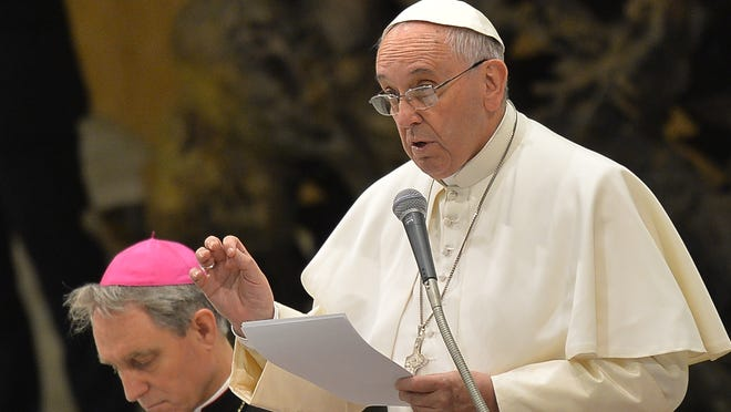 Pope Francis speaks Jan. 21, 2015, to his weekly general audience at the Vatican.