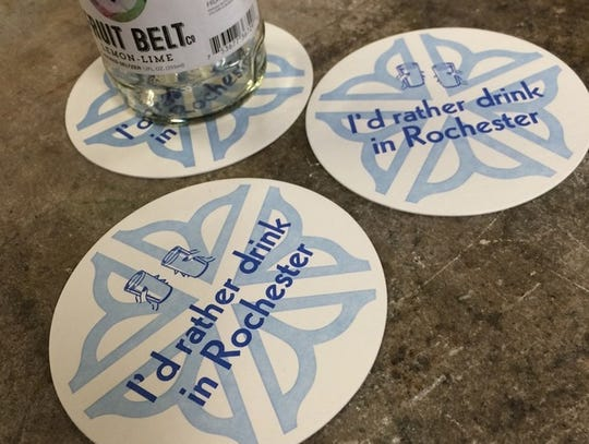 """""""I'd rather drink in Rochester!"""" coasters."""