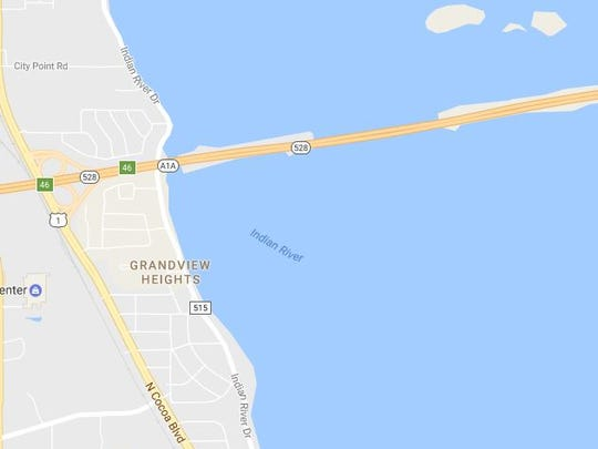 The area of Saturday's incident involving a van that submerged into the Indian River.
