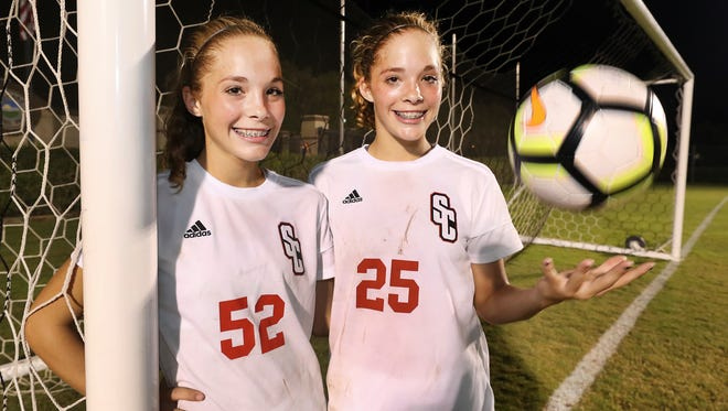 Stewarts Creek sophomore twins Dakota Mitchell (52) and Delaney Mitchell have combined for 31 goals this season.